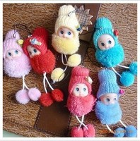 6 Colors Style Mixed Wholesale  Lovely Cartoon Figure Knitted Wool Plush Dolls Phone Straps Hongkong Post Free Shipping