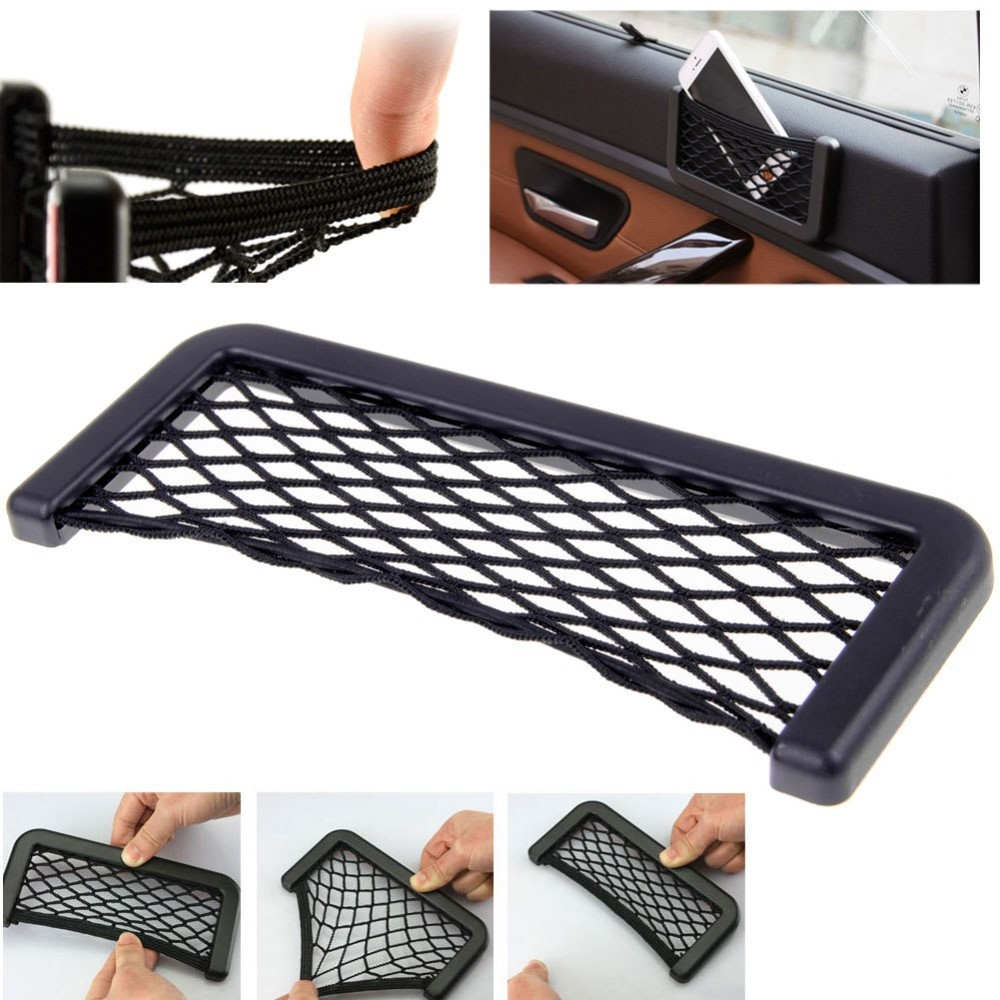 car interior mesh organizer hanging box bag storage net for phone key car seat side back storage. Black Bedroom Furniture Sets. Home Design Ideas