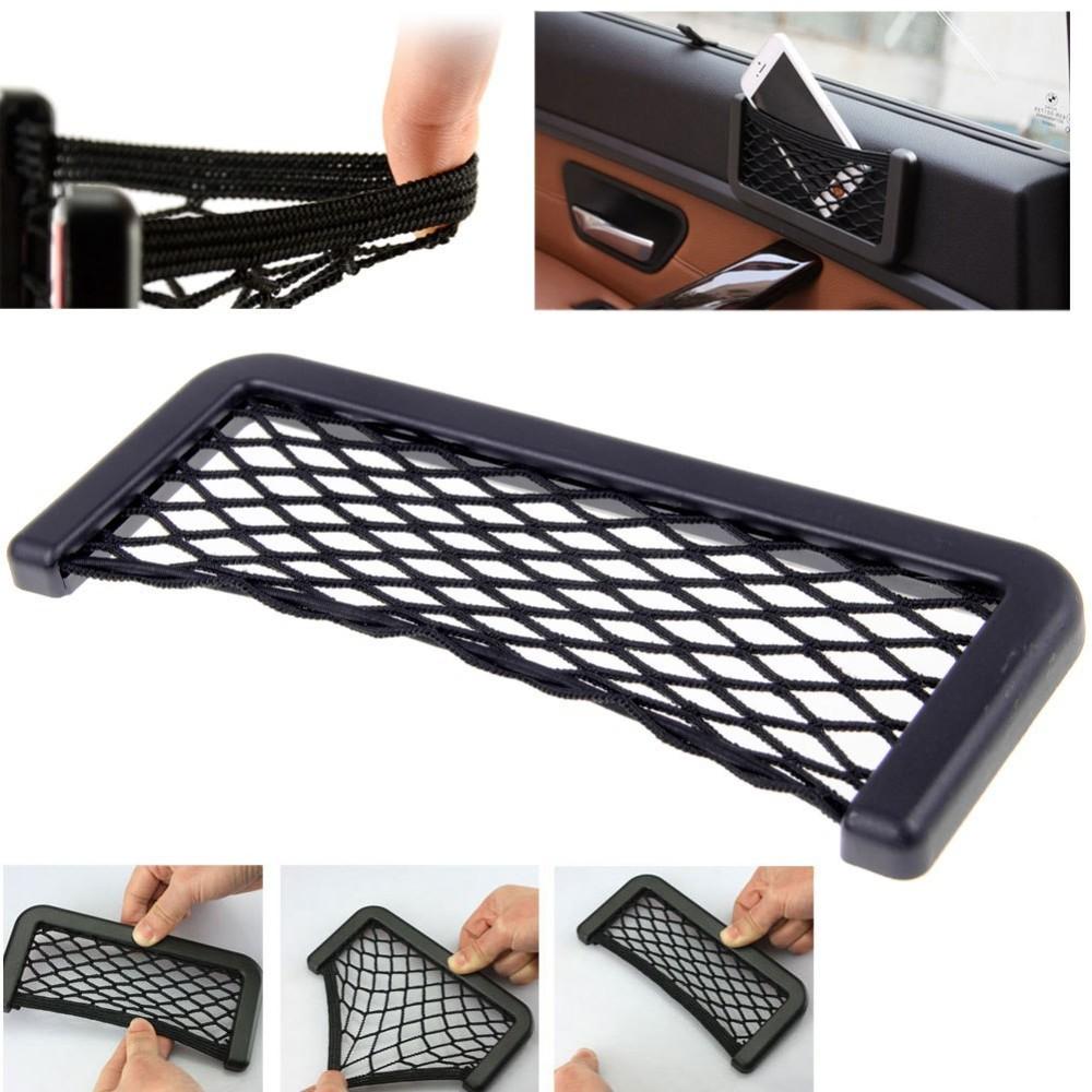 car interior mesh organizer hanging box bag storage net for phone key car seat side back storage. Black Bedroom Furniture Sets. Home Design Ideas