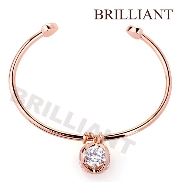 BB196 Big Clear Synthetic Gemstone 18K Rose Gold Plated Heart Bangles Bracelet Jewelry Genuine Austria Crystals - Brilliant store