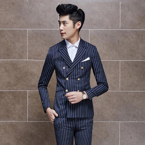 2015 Double Breast Wedding Dress Stripe Blazer Men Suits Social Slim Fit Stage Jacket Jaqueta Masculina Royal Blue Casual Blazer