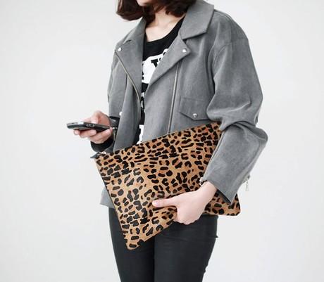 High quality 2015 women's handbag leopard print day clutch envelope bag(China (Mainland))