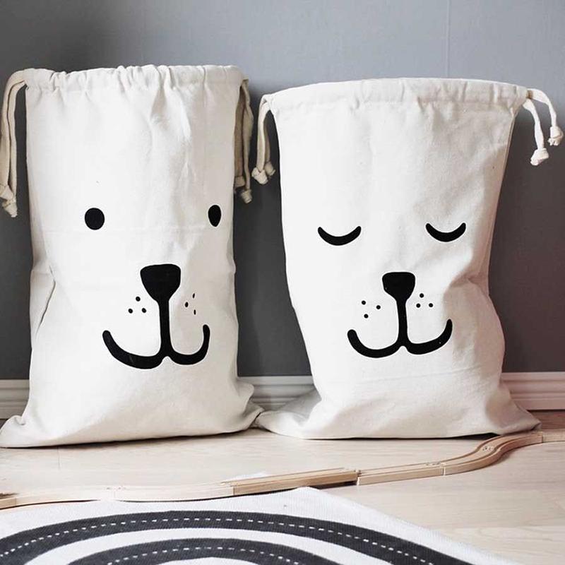 Hot Sale Practical Storage Tool Canvas Storage bags Cute Bear Batman Laundry Drawstring bag Baby Kids Room Decoration(China (Mainland))