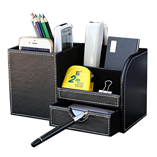 Деревянные кожа многофункциональный органайзер стол канцелярские ящик для хранения пера карандаш box держатель дело