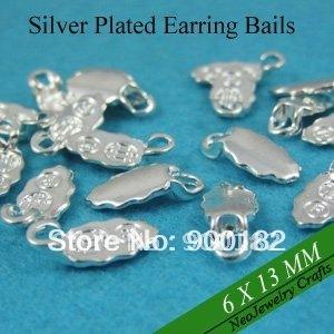 Shiny Silver Earring Bail, Glue on Earring Bails for Glass Earrings Making