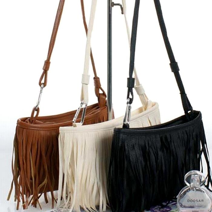 Women Tassel Crossbody Satchel Shoulder PU Leather Tote Messenger Bag Handbag(China (Mainland))