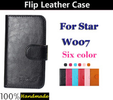 Hot 6 Colors Dedicated Flip Leather Customize Protective Phone Cover Case For Star W007 Card Holder Wallet Bags(China (Mainland))