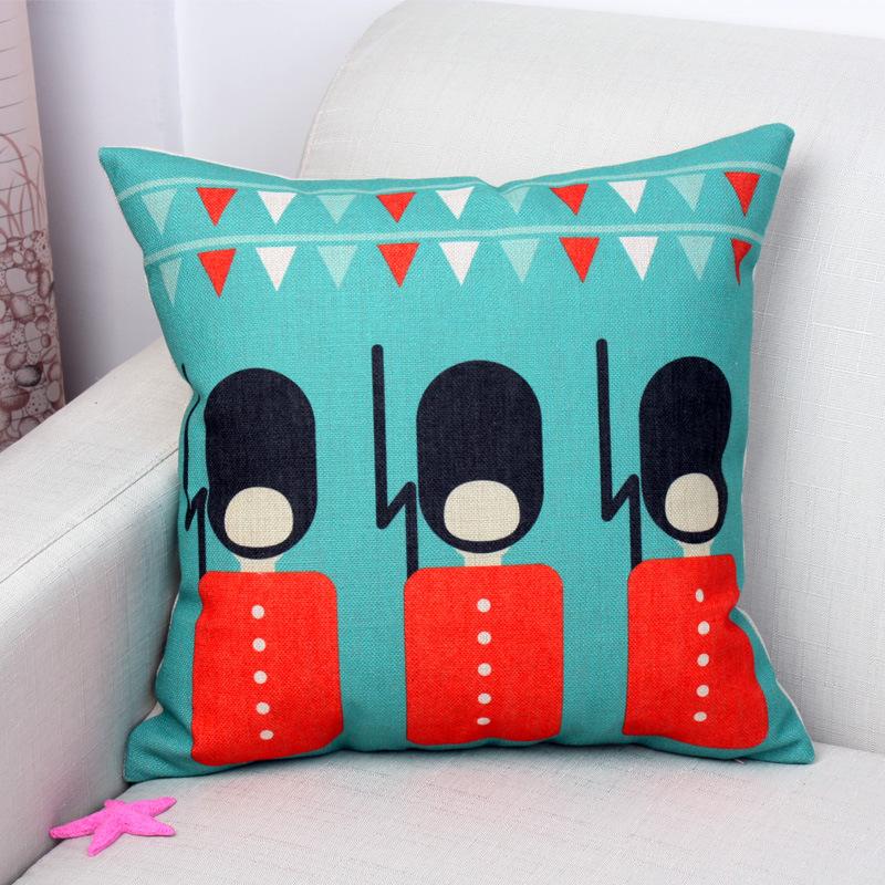 2015 Fashion British style colorful cute cartoon soldier cotton linen decorative pillowcases ...