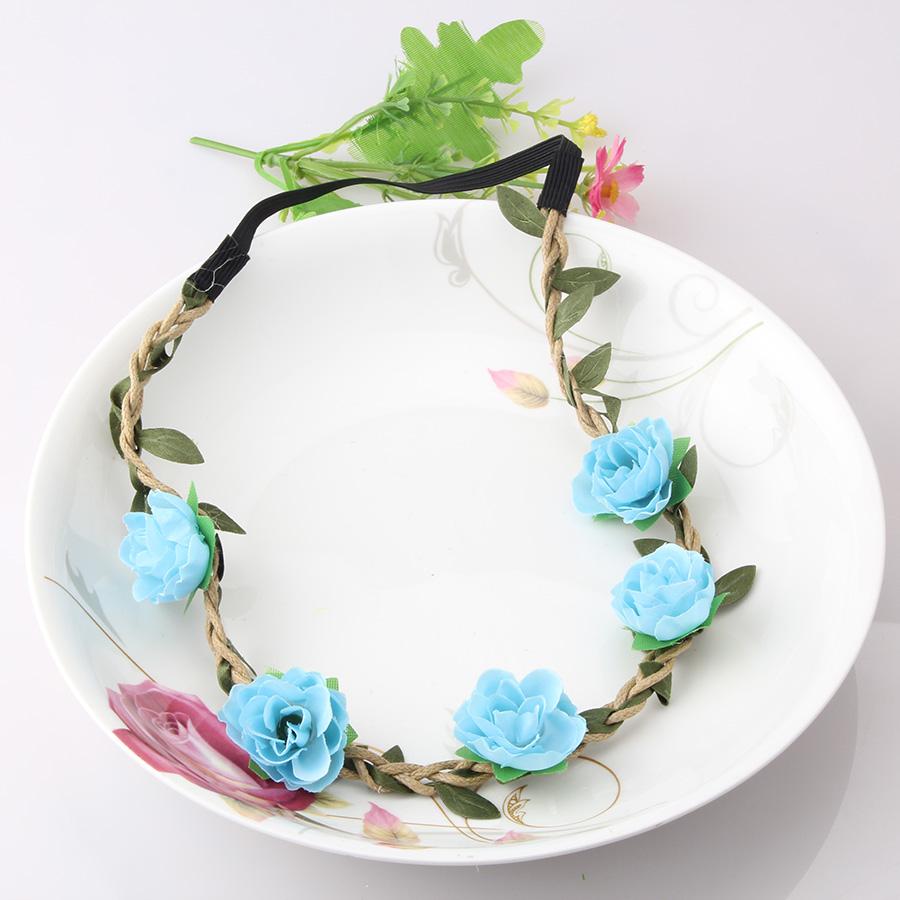 New Girls Hair Accessories Azaleas Flowers Headband Hair Wreath Festival Wedding Floral Garland Hair Band Bride