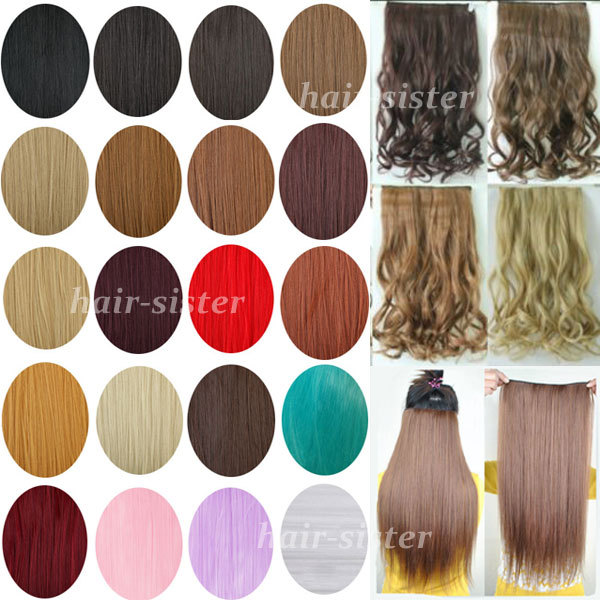 UPS FAST FREE SHIPPING Maga Long 3/4 Full Head Clip in on Hair Extensions One Piece 5clips as Real Hair Any Colors(China (Mainland))