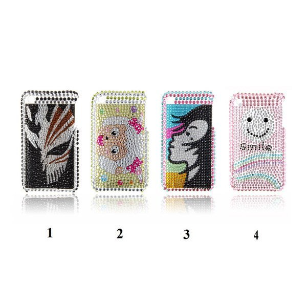 Smiling Face Rhinestone Crystal Bling Bling Hard Plastic Case Cover for iPhone 3G 3GS