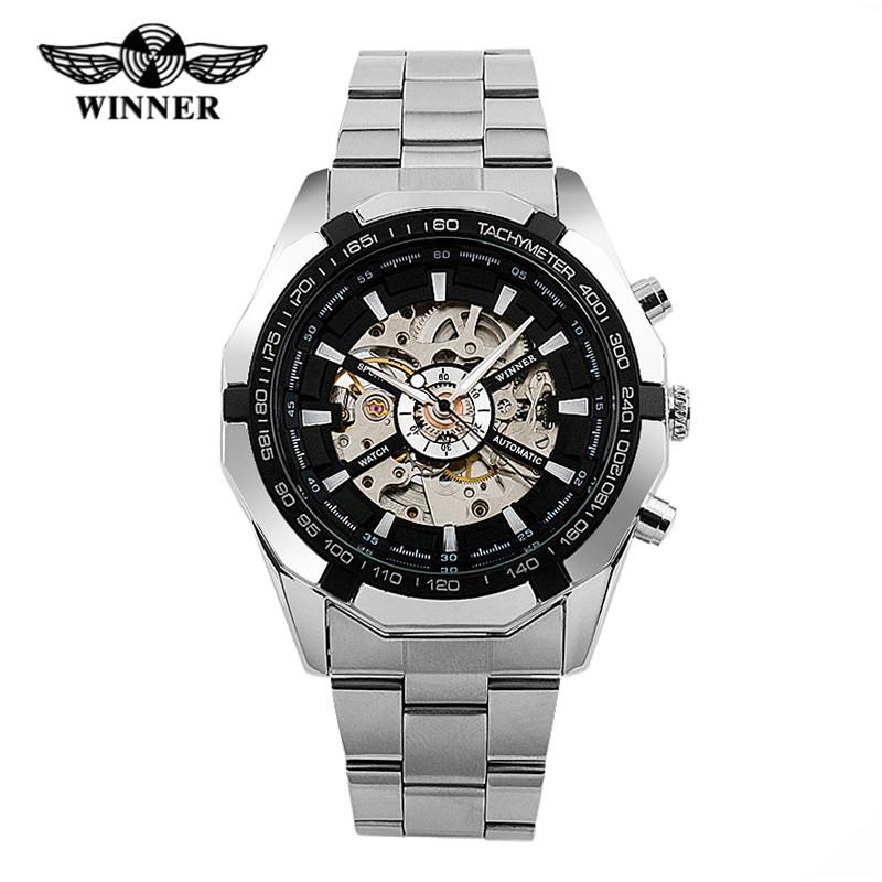 WINNER Men Watch Stainless Steel Skeleton Watches Limunous Mechanical Wristwatch Analog-digital Mens Clock Relogio Montre 2016(China (Mainland))