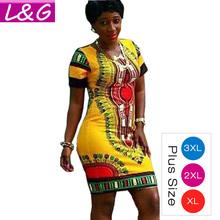 S-3XL!! Boho Summer Dress Women Traditional African Tribal Print Dashiki Dresses Bodycon Club Party Dress CLothing Robe 10677(China (Mainland))