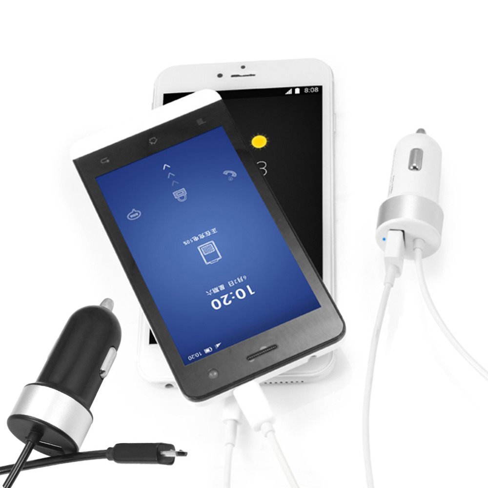 USB Car Charger Total 2.4A with Spring Shape Micro USB Cable Lighting Cable for Iphone for Tablet PC dropping shipping(China (Mainland))