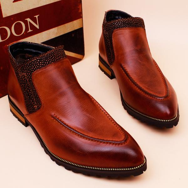 Здесь можно купить  Trend winter plus velvet boots fashion pointed toe martin boots increased vintage fashion genuine leather high-top shoes fashion  Обувь