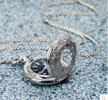 Silver Round Vintage Pocket Watch Necklace For Gift Pocket Fob Watches