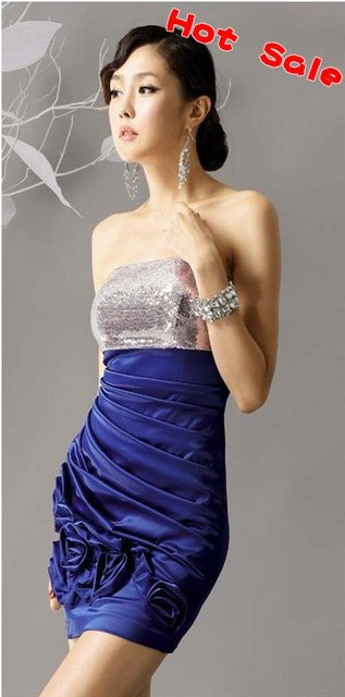 Drop shipping Fashion OL Women Lady Compere Shining Noble Blue Evening Dress Strapless Prom Dress Formal dress Best seller