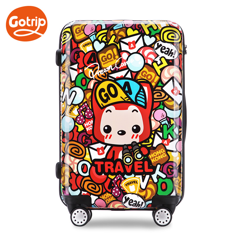 2015 New Men and Women Travel Suitcase Trolley Luggage Bag Universal Wheels Cartoon Luggage 20