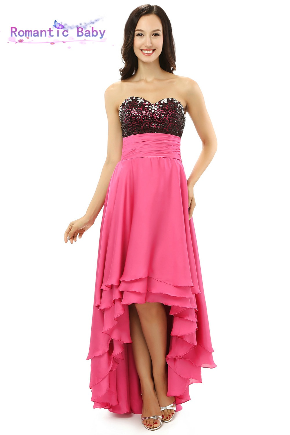 2015 New Pink High Low Evening Dresses Prom Dress Evening Dresses Fashion Design Vestido De