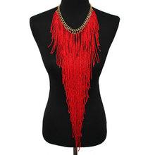 MANILAI Design de Estilo Bohemian Moda Feminina Charme Jóias Resina Bead Handmade Longa Borla Declaração Chain link Colar Gargantilha(China)