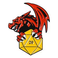 Ruang Bawah Tanah dan Naga D20 Dua Puluh Dua Sisi Mati RPG D & D Atas Meja Penggemar Permainan Hadiah Merah Perhiasan bros Kerah Pin Lencana Enamel(China)