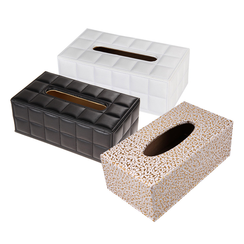 Durable Home Car Rectangle PU Leather Tissue Box Cover Napkin Paper Black White Color 25*13.5*9.5cm(China (Mainland))