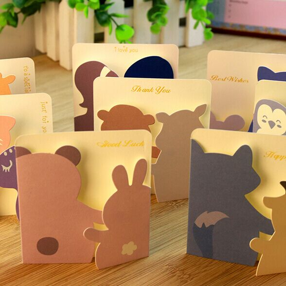 Cute Animal Small Gift Cards,Creative Mini Greeting Cards For Kids,Idea for Birthday,Valentine,Friendship(China (Mainland))