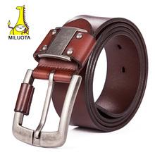 [MILUOTA] 2015 Luxury strap male genuine leather belts for men fashion wide belt brand cinturones hombre tactical belt LW052
