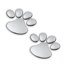 2x Dog Cat Paw Puppy Emblem Chrome Car Stickers 3D Stereo Personalized Metal Car Truck Motor Auto Decal Sticker