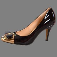Women Shoes High Heel Autumn Fashion Genuine Leather Metal Bow shoes Women Pumps Damen Schuhe 2015 Sapatos De Salto Alto. DA032(China (Mainland))