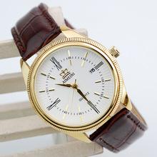 Calientes de venta de top relojes de reloj de cuarzo de la marca de lujo ocasional militar calendario pulsera correa de cuero relógio masculino oro