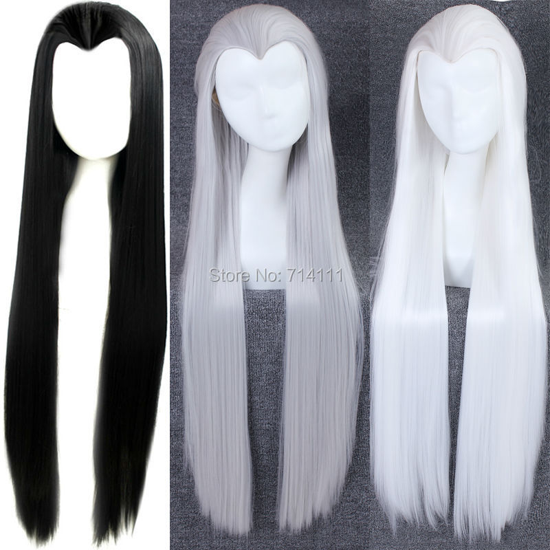 100cm Long Straight Black,White,Silvery Grey Available Beauty Clasic China traditional Top Styled Hair Cosplay Party wig - Wig Zone Of Factory store