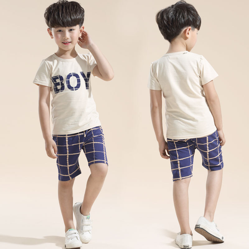 2016 Korean New Summer Quality Children Boys Short Sleeve And Pants Suits Cartoon Striped Sport Sets For 3 5 7 8 10 11 Years Old(China (Mainland))