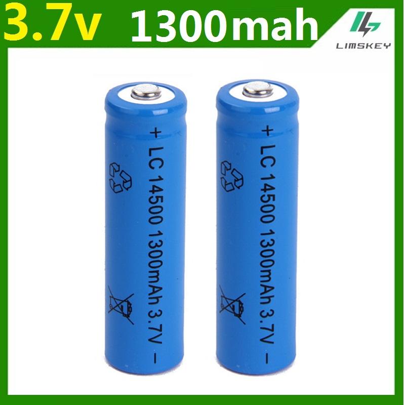 1 pcs/set High capacitance 14500 battery 3.7V 1300mAh rechargeable li-ion battery for Led flashlight batery litio battery Newest(China (Mainland))