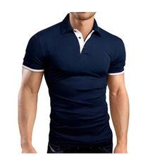 여름 짧은 소매 폴로 셔츠 남성 턴 오버 칼라 패션 캐주얼 슬림 통기성 솔리드 컬러 비즈니스 남성 폴로 셔츠(China)