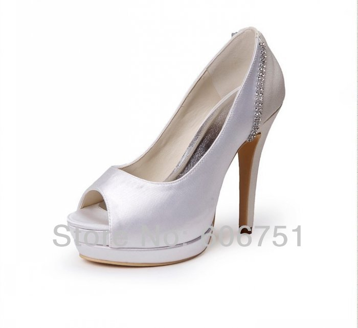 Peep Toe High Heel Two Platform White Ivory Wedding Bridal Shoes With Rhinestone Custom Color