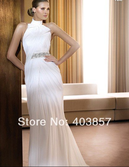 Wedding Dresses Chiffon Wedding Dress White Wedding Dress Halter Wedding Dress HS0196