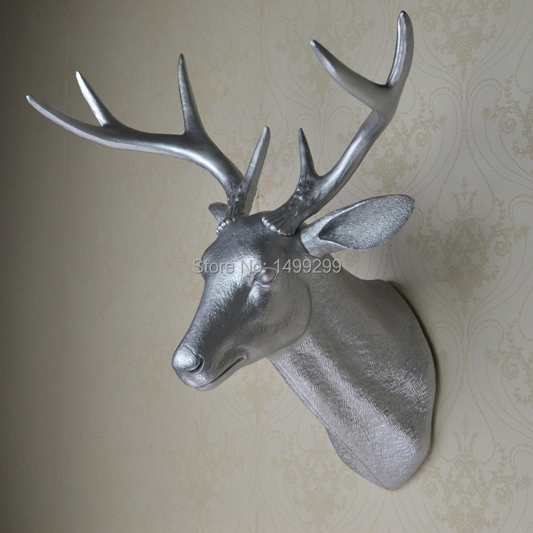 Wall mounted silver buck bust whitetail deer head trophy wall art plaque hunt sculpture faux - Silver stag head wall mount ...