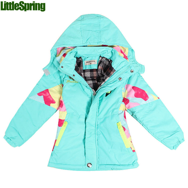 Girls Outwear! winter warm color red light blue hooded full sleeve coats patchwork cotton blends jackets kid girl coat - Baby Online store