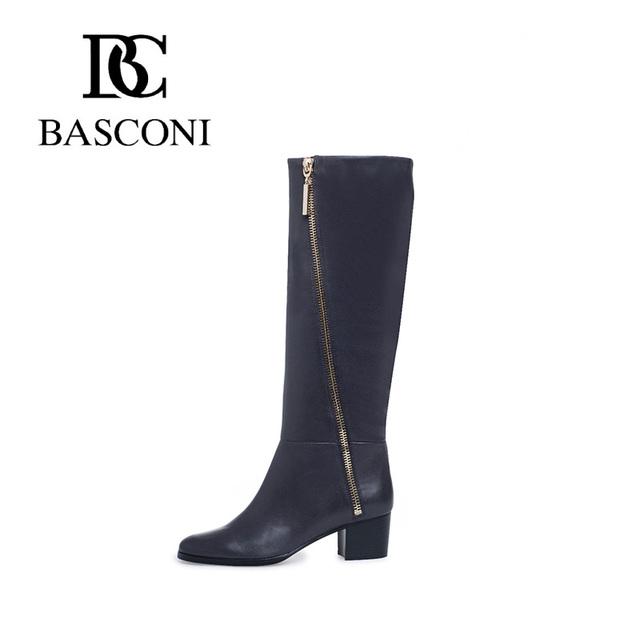 Бесплатная доставка basconi женская обувь осень зима новинка квадратный каблук круглый нос декоративная золотистая мония сбоку черные натуральные овечья кожаные сапоги колен-высокие ботинки в бархатной внутри 545201