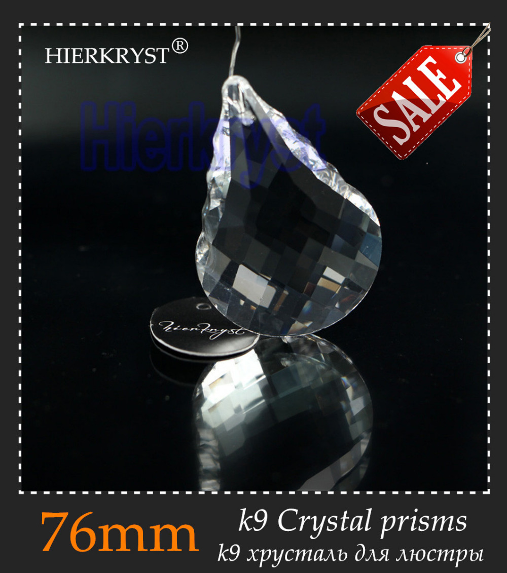 HIERKYST 2K9 Glass Crystal Prisms Pendants Chandeliers Parts Lustres Rainbow Lamp Lighting Hang Drops 76mm 3 inch #2244-3C - Beadssupplies Store store