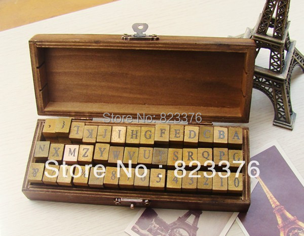 DHL Free shipping 30set 42 pcs/set Alphabet stamp Creative letters and numbers stamp gift box/wooden stamp/wooden box(China (Mainland))