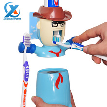 Cartoon Traceless Plastic Automatic Toothpaste Dispenser Set Kids Toothbrush Holder Bathroom Toothpaste Squeezer Fast Shipping(China (Mainland))