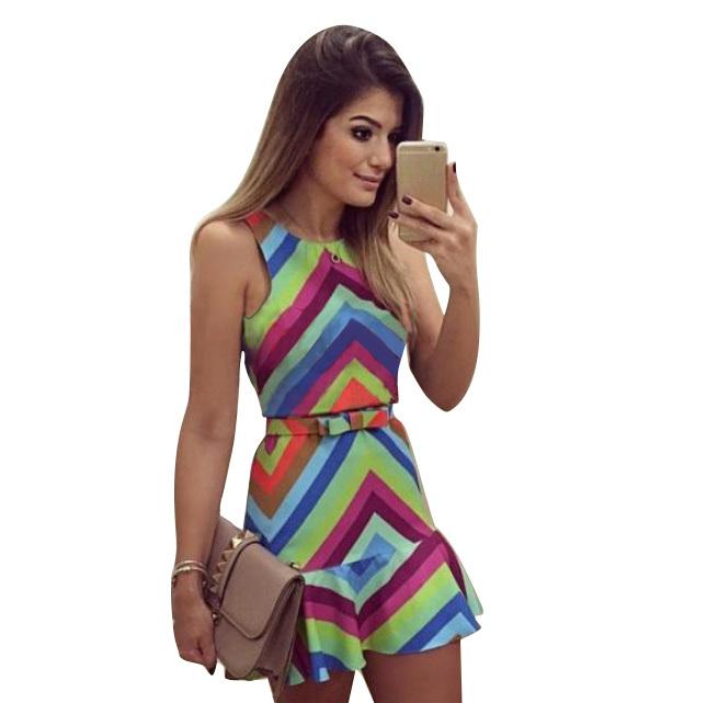 2015 Summer Style New Design Fashion women dress Sexy Sleeveless O-neck Stripe printed vestidos Casual Sweet dress with belt 793(China (Mainland))