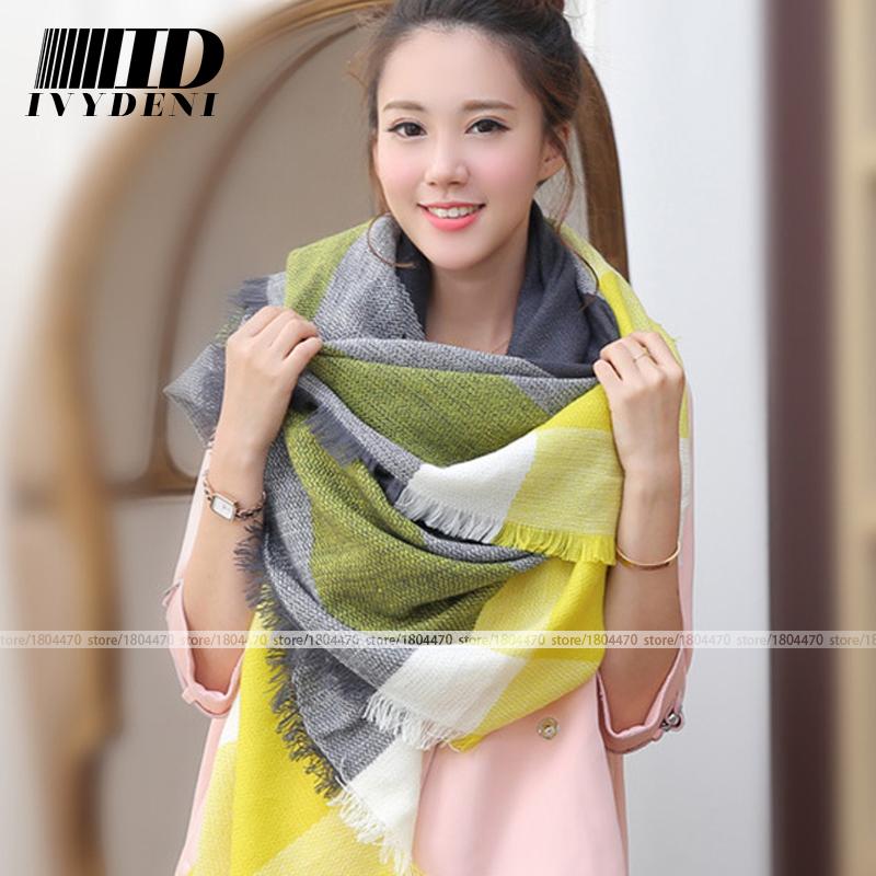 brand scarf font b tartan b font imitation cashmere mixed colors winter scarf women stoles Warm