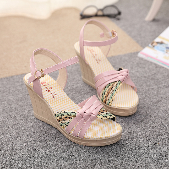 Hot Sale 2015 Summer Fashion Women Sandals Wedges Shoes High Heel Sandals Platform Open Toe Buckle Casual Shoes Free Shipping(China (Mainland))