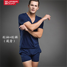 2015 Special Offer Terno Masculino Pijama Men Underwear Men's Suits Superbody T-shirt / Vest Shorts Set Sleep Suit Spdb Agent(China (Mainland))