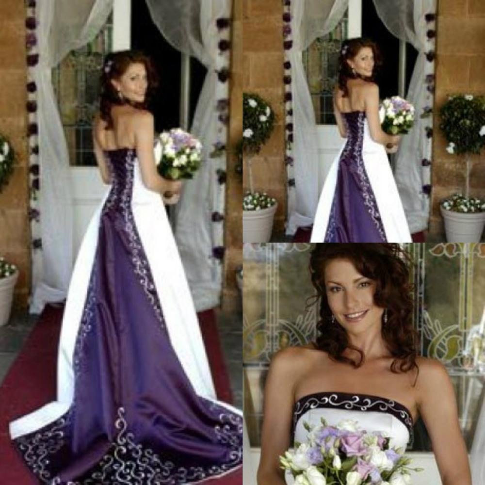 Hot White And Purple Wedding Dresses 2016 Pao Embroidery Vestido De Custom Made A Line Strapless