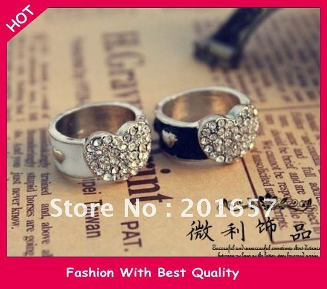 Free Shipping wholesale new arrival heart with o ring 17mm silver and black jewelry 12pc/lot
