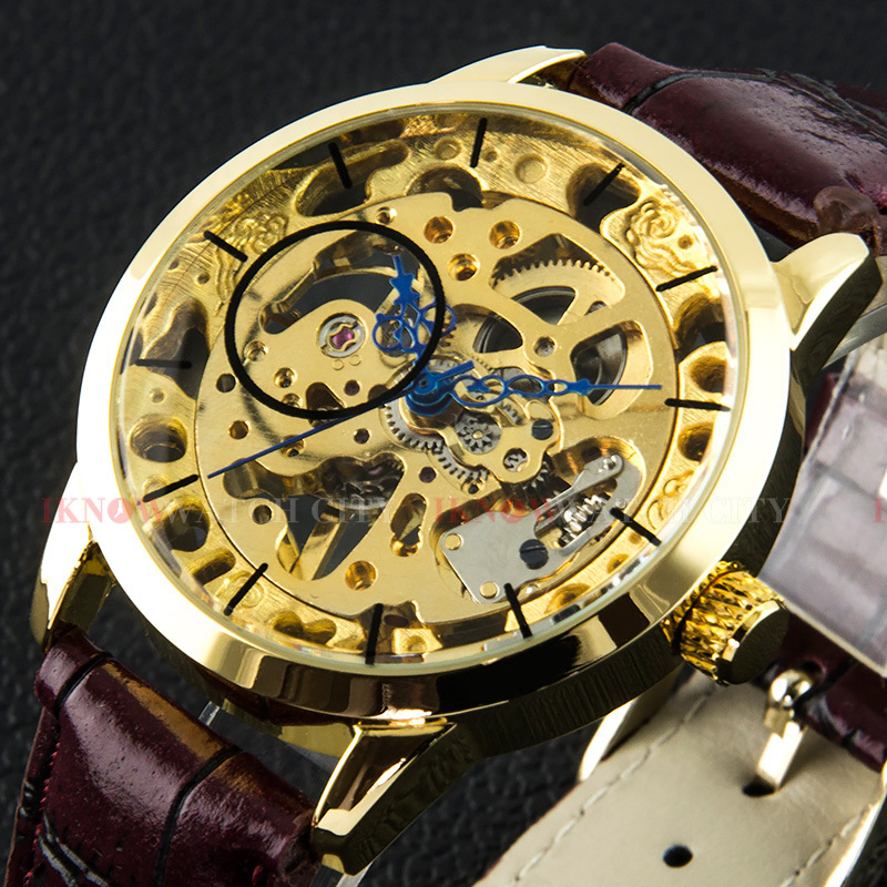 Men's Mechanical Hand Wind Brand Gold Skeleton Wristwatch Leather Strap Luxury Relogios Casual Fashion Watch - TimeCity Store store